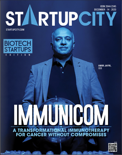 Image of the cover of Startup city journal with Amir Jafri on the cover